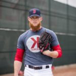 FORT MYERS, FL - FEBRUARY 23: Craig Kimbrel #46 of the Boston Red Sox poses for a portrait with a K Cancer shirt during a game against the Minnesota Twins at JetBlue Park at Fenway South on February 23, 2018 in Fort Myers, Florida. (Photo by Billie Weiss/Boston Red Sox/Getty Images) *** Local Caption *** Craig Kimbrel